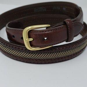 Brighton Camden Fabric Brown Leather Belt Size 38